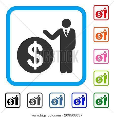Banker icon. Flat grey pictogram symbol inside a light blue rounded squared frame. Black, gray, green, blue, red, orange color variants of Banker vector. Designed for web and software UI.