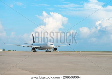 Airplane On Runway Strip In An Airport