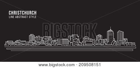 Cityscape Building Line art Vector Illustration design - Christchurch city