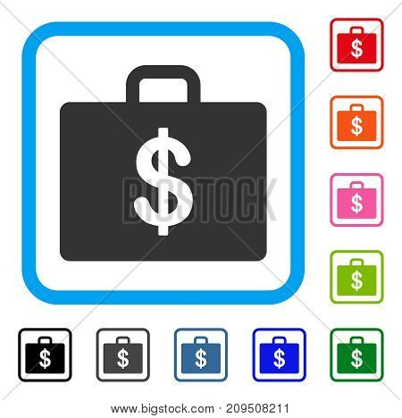 Business Case icon. Flat grey iconic symbol in a light blue rounded rectangle. Black, gray, green, blue, red, orange color variants of Business Case vector. Designed for web and application UI.