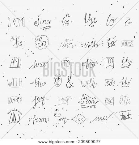 Collection Of Hand Sketched Ampersands And Catchwords