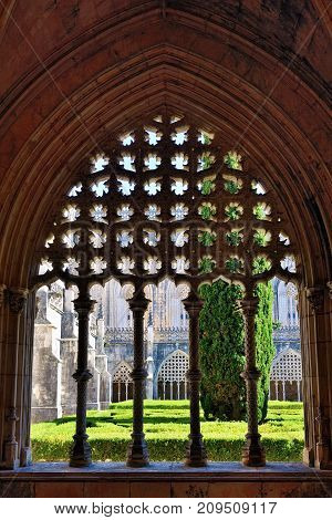 Portugal Batalha - June 4, 2017 Monastery of Santa Maria da Vitoria and better known to us all as da Batalha Monastery one of the most beautiful works of Portuguese and European architecture as well as one of the most important monuments of the Portuguese