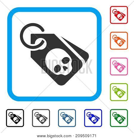 Death Skull Tags icon. Flat gray pictogram symbol inside a light blue rounded squared frame. Black, gray, green, blue, red, orange color variants of Death Skull Tags vector.