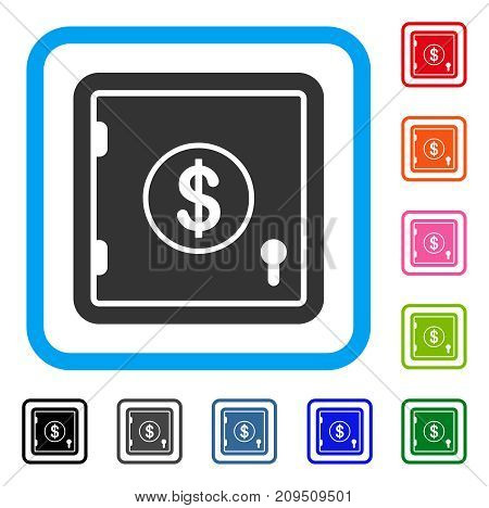 Dollar Banking Safe icon. Flat gray pictogram symbol in a light blue rounded square. Black, gray, green, blue, red, orange color additional versions of Dollar Banking Safe vector.