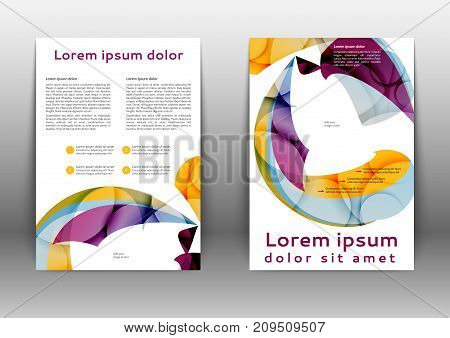 Color brochure design  with abstract lines and waves