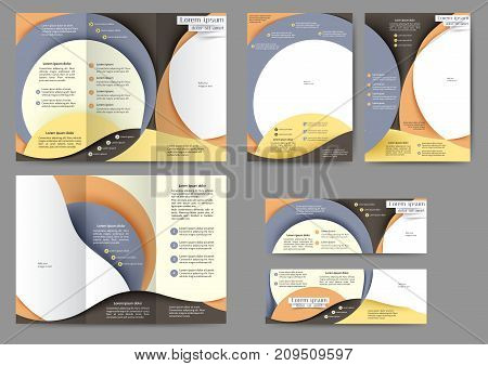Set of color abstract brochure template with abstract lines and waves.