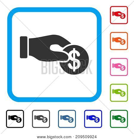 Dollar Donation icon. Flat grey iconic symbol in a light blue rounded rectangle. Black, gray, green, blue, red, orange color variants of Dollar Donation vector. Designed for web and app UI.