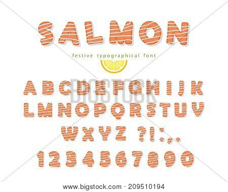 Salmon font isolated on white. Vector illustration
