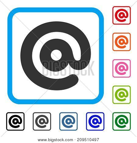 Email Symbol icon. Flat grey iconic symbol in a light blue rounded rectangular frame. Black, gray, green, blue, red, orange color additional versions of Email Symbol vector.