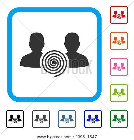 Hypnosis Sect icon. Flat grey iconic symbol in a light blue rounded rectangular frame. Black, gray, green, blue, red, orange color variants of Hypnosis Sect vector.