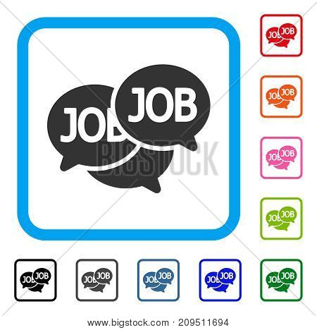 Labor Market icon. Flat gray iconic symbol in a light blue rounded rectangular frame. Black, gray, green, blue, red, orange color additional versions of Labor Market vector.