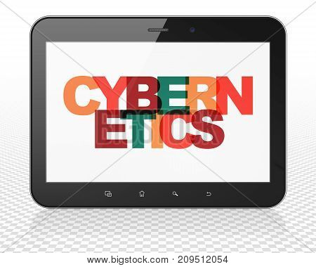 Science concept: Tablet Pc Computer with Painted multicolor text Cybernetics on display, 3D rendering