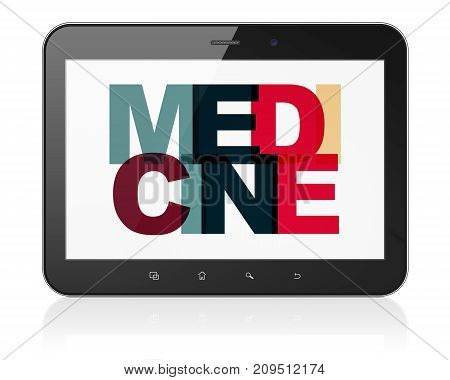 Medicine concept: Tablet Computer with Painted multicolor text Medicine on display, 3D rendering