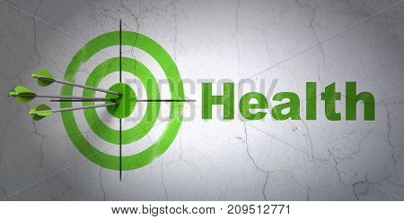 Success Healthcare concept: arrows hitting the center of target, Green Health on wall background, 3D rendering