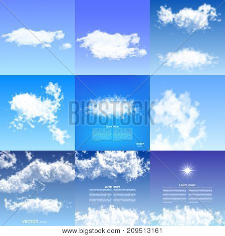 Realistic clouds blue sky transparent different nature weather white cloudscape air space natural environment skyline cloudy background vector illustration. Bright season climate fluffy backdrop.