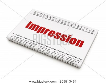 Marketing concept: newspaper headline Impression on White background, 3D rendering