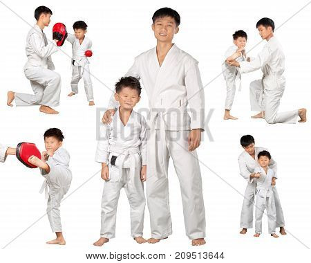 Little boy asian teacher karate sport strike