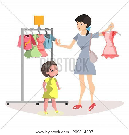 Mommy and Little Daughter Shopping Together. Vector illustration