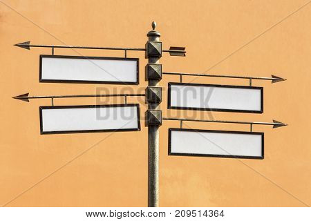 Blank directional road signs Metal pointer