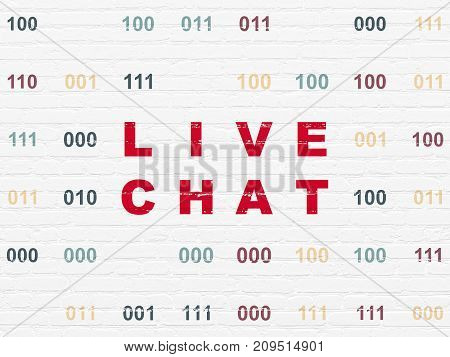 Web development concept: Painted red text Live Chat on White Brick wall background with Binary Code