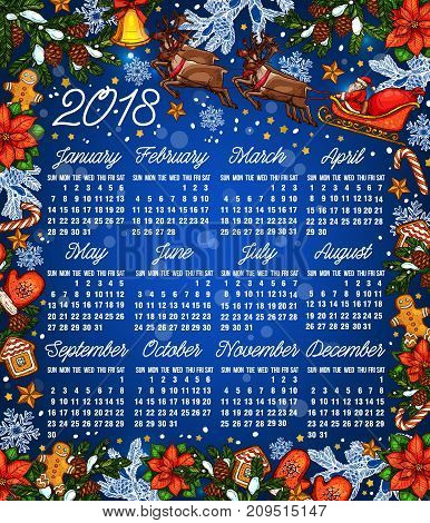 Christmas holiday calendar template. 2018 year calendar with frame of Xmas tree, gold bell, star, candy and gingerbread cookie, snowflake, Santa Claus in sleigh with reindeer, poinsettia and pinecone