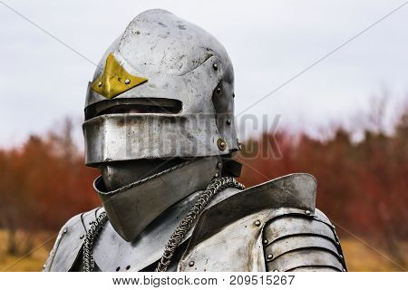 Knight In Helmet And Armour Before Battle On Red Forest Background