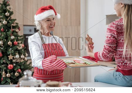 I baked it with my love. Portrait of happy granny giving self-made holiday pastry to her lovely grandchild. She is standing in kitchen and smiling