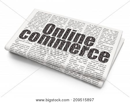 Business concept: Pixelated black text Online Commerce on Newspaper background, 3D rendering