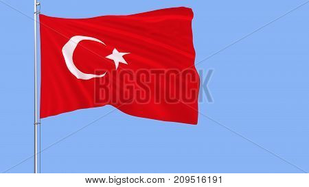 Flag of Turkey on a flagpole fluttering in the wind on a blue background 3d rendering