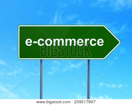 Finance concept: E-commerce on green road highway sign, clear blue sky background, 3D rendering
