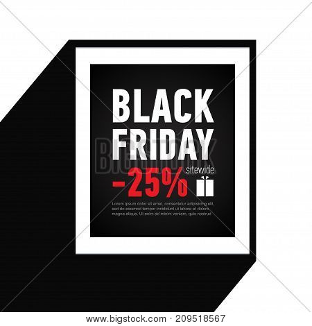 Black Friday sale inscription design template. Sale 25 off sitewide. Black banner in flat style. Shopping online.