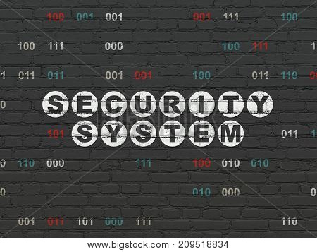 Privacy concept: Painted white text Security System on Black Brick wall background with Binary Code