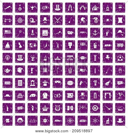 100 top hat icons set in grunge style purple color isolated on white background vector illustration