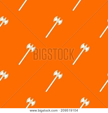 Poleaxe pattern repeat seamless in orange color for any design. Vector geometric illustration
