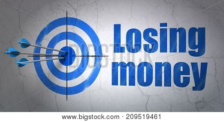 Success currency concept: arrows hitting the center of target, Blue Losing Money on wall background, 3D rendering