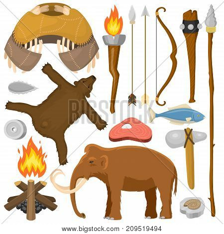 Stone age aboriginal primeval historic hunting primitive people weapon and house life symbols vector illustration. Anthropology prehistoric labor tools.