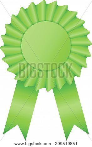 Blank green color rosette award ribbon on white background