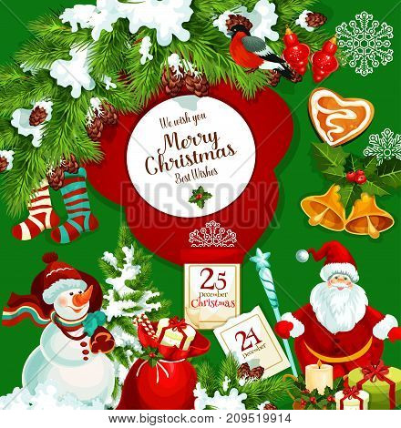 Santa Claus with Christmas gift poster for winter holidays greeting card. Snowman with santa gift bag and candy cane, xmas tree and holly branch with bell, ball, snowflake and candle, sock and cookie