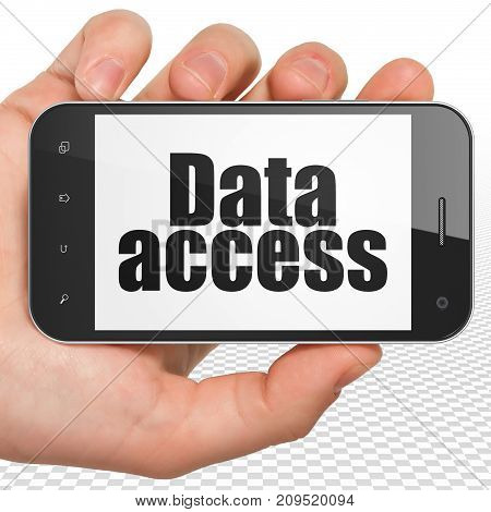 Data concept: Hand Holding Smartphone with black text Data Access on display, 3D rendering