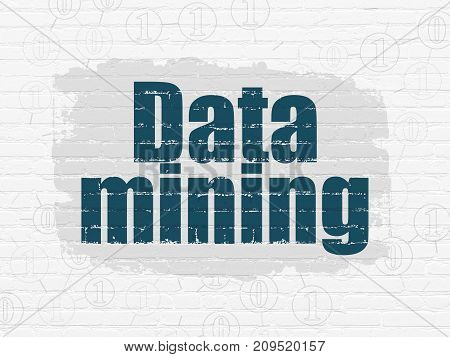 Information concept: Painted blue text Data Mining on White Brick wall background with Scheme Of Binary Code