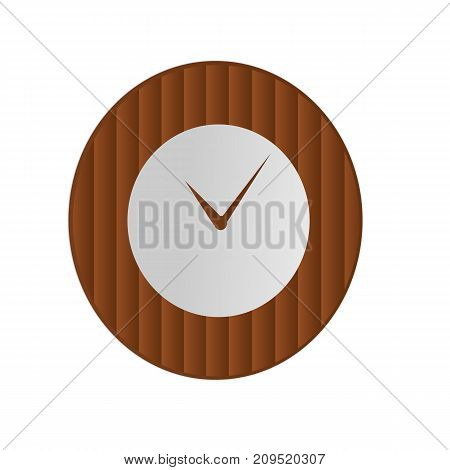 Clock icon in wooden bamboo style on isolated background. Vector design element