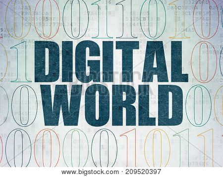 Information concept: Painted blue text Digital World on Digital Data Paper background with Binary Code