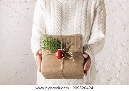Female hands holding a Christmas present. New year's concept. Settle background kinfolk . Copy space