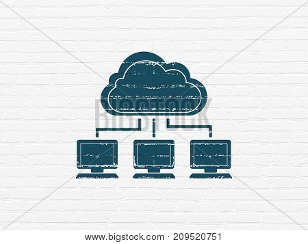 Cloud computing concept: Painted blue Cloud Network icon on White Brick wall background