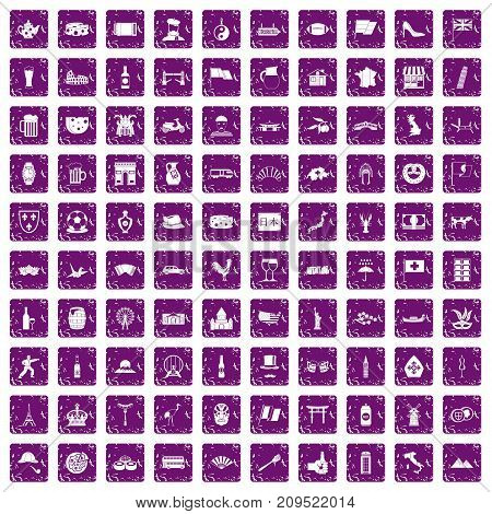 100 tourist attractions icons set in grunge style purple color isolated on white background vector illustration
