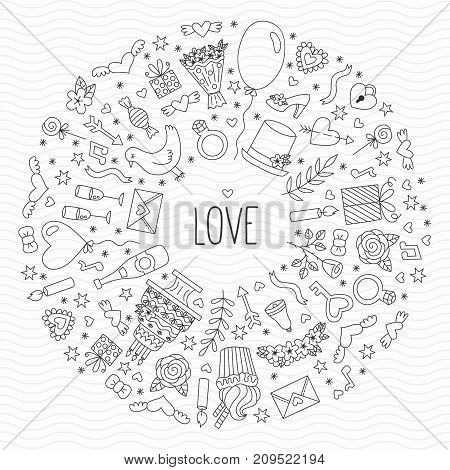 Doodle romance love wedding save the date round frame black and white doodle icons