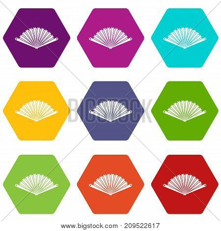 Opened oriental fan icon set many color hexahedron isolated on white vector illustration
