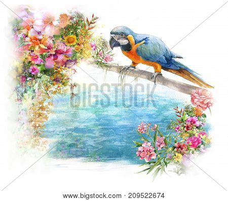 watercolor painting with bird and flowers on white background