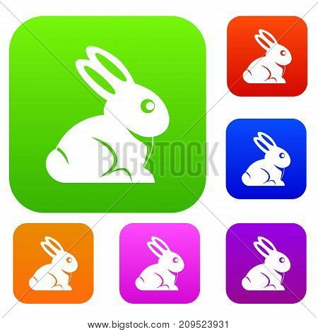 Easter bunny set icon color in flat style isolated on white. Collection sings vector illustration