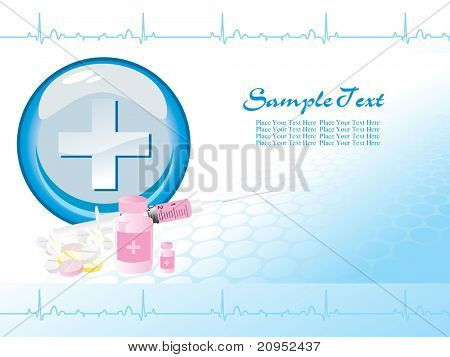 medical supplies on blue heart beat, plus sign background